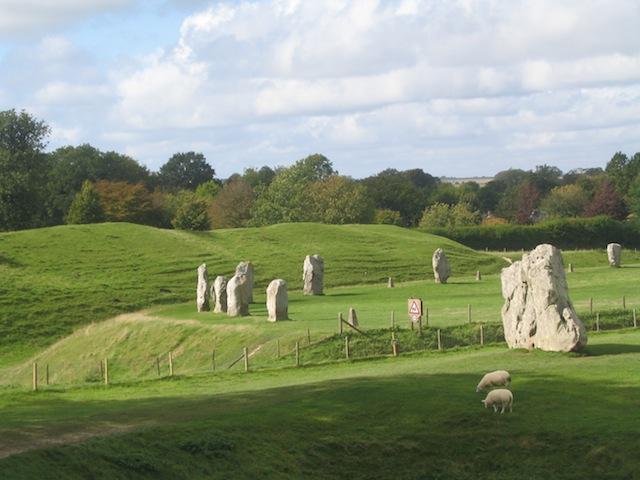 Avebury stone circle in sunlight