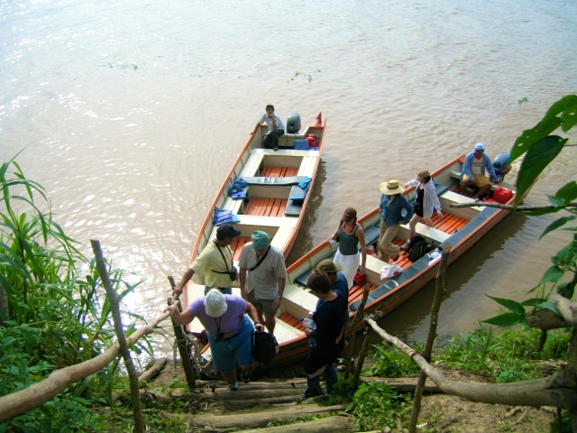 Shamanic healing in the Amazon, small boat on the river