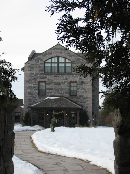 Ste Anne's Spa review, building in snow