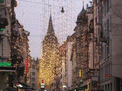 Zurich's chocolate chic, street scene winter