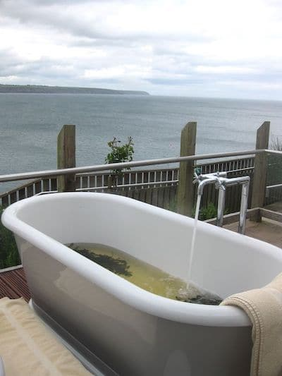 Outdoor seaweed bath at the Cliff House Hotel in Ireland