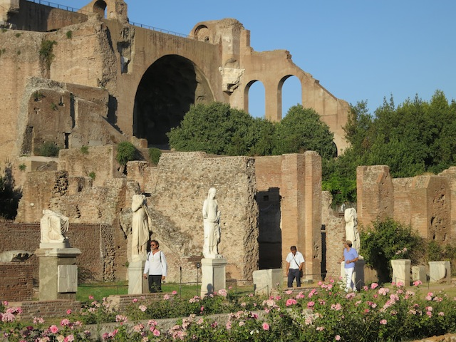 Statues of the Vestal Virgins in Rome near the Forum