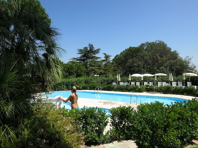 Outdoor pool at the Rome Cavalieri Hilton in Italy