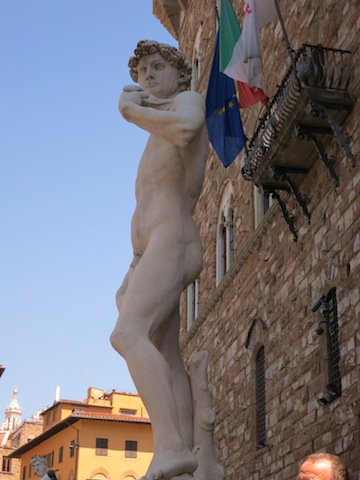 The best Florence views, replica of David by Michelangelo