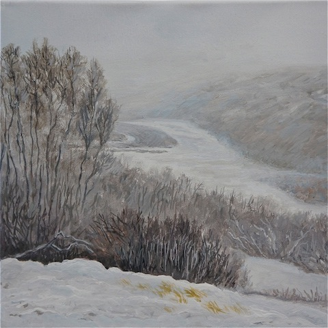 Snow painting by Catherine Perehudoff