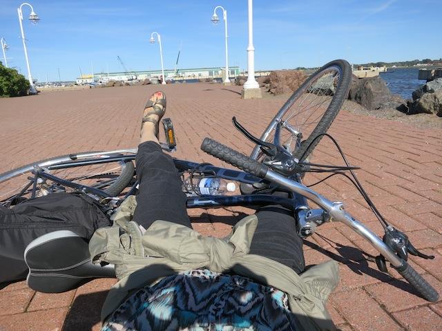 Cycling Confederation Trail in PEI, from Charlottetown, falling down