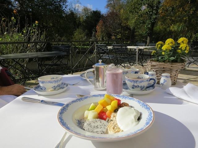 Baden-Baden honeymoon at Brenners Park, morning breakfast on the patio