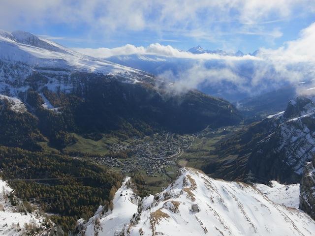 Gemmi Pass cable car Leukerbad Matterhorn view