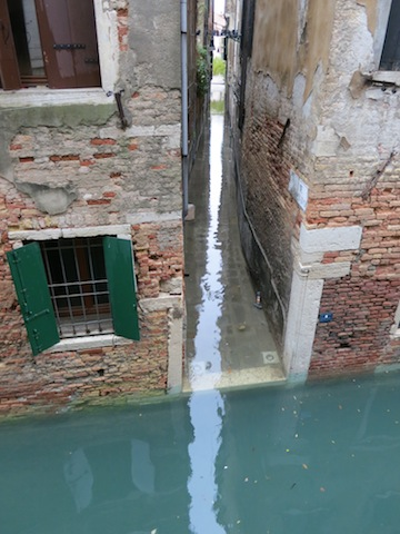 Venice flooded canal in high water