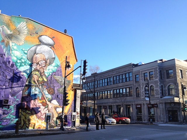 Mural on Boulevard Saint-Laurent in Mon