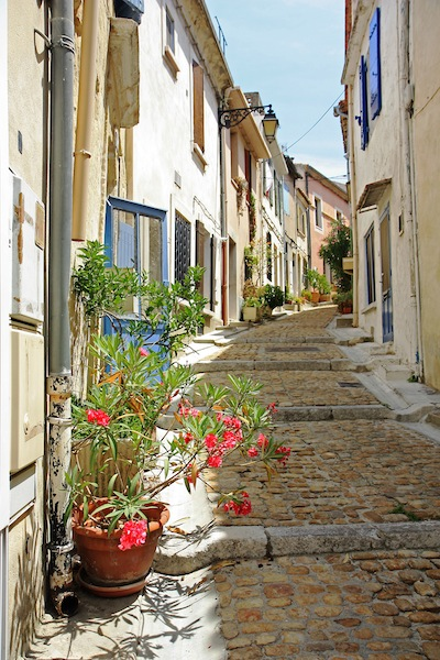 Narrow lane in Arles Provence France