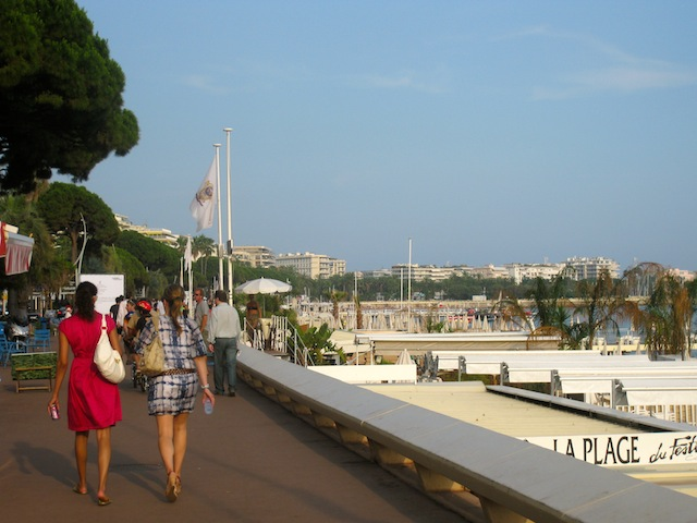 Walking along the waterfront at Cannes