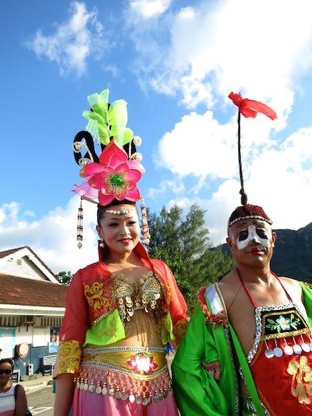 Chinese stilt dancers Seychelles Carnival