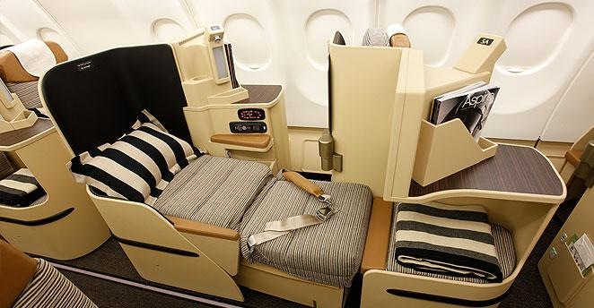 Flat bed in Pearl Business Class on Etihad