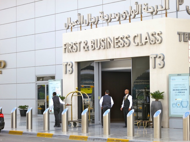 First and Business Class check-in on Etihad in Abu Dhabi