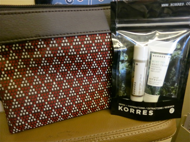 Korres toiletries in Business Class on Etihad Airways
