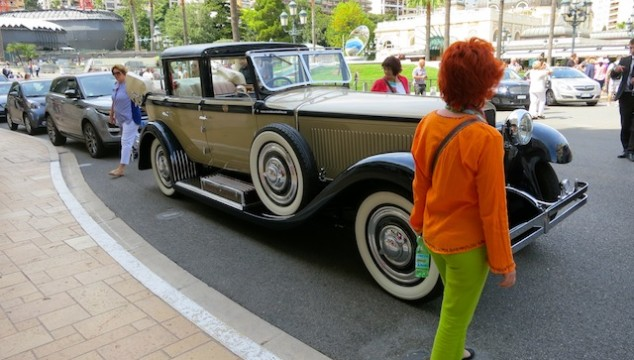 Monaco, where orange, lime green and vintage cars go together.