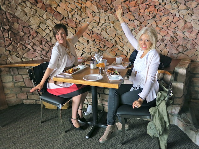 Both Wandering Carol and Kymberley channeling Marilyn Monroe on Mt Norquay in the Cliffhouse Bistro Banff