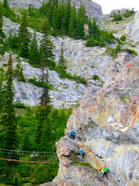 People on Via Ferrata on Mt Norquay in Banff