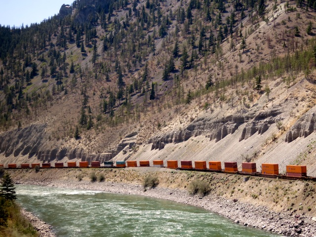 Freight trains between Vancouver and Calgary