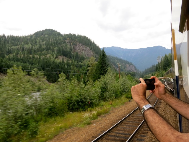 Taking photos on the Rocky Mountaineer