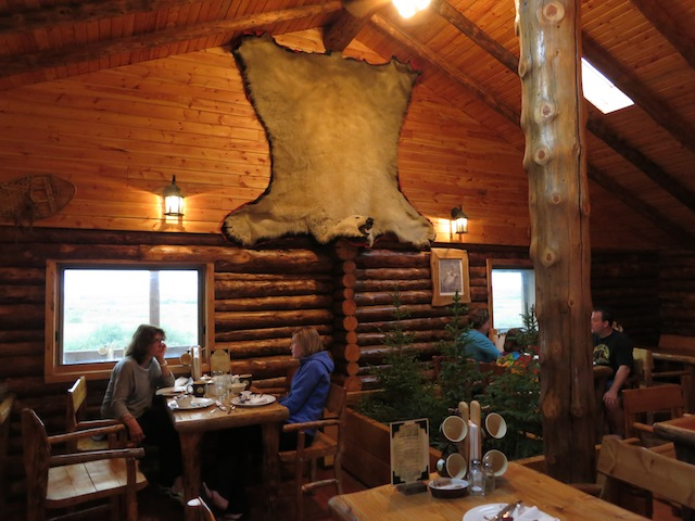 Lazy Bear Lodge dining room in Churchill Manitoba