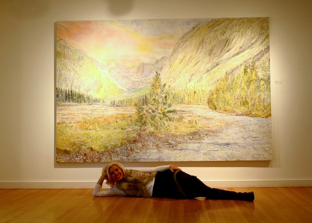 Art trip to Edmonton Dorothy Knowles landscape with Wandering Carol at Douglas Udell Gallery
