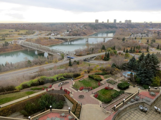 Beautiful view of Edmonton riverbank from the luxury Hotel Macdonald