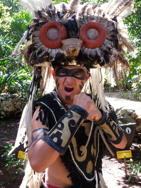 Maya warrior on cenote Mexico adventure in the Riviera Maya