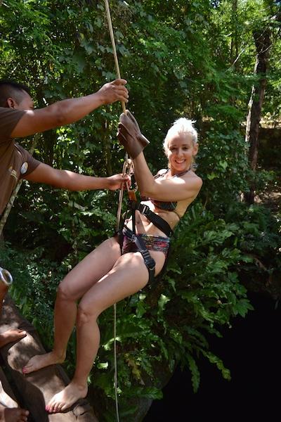 Wandering Carol rappelling, Cenote Mexico Adventure