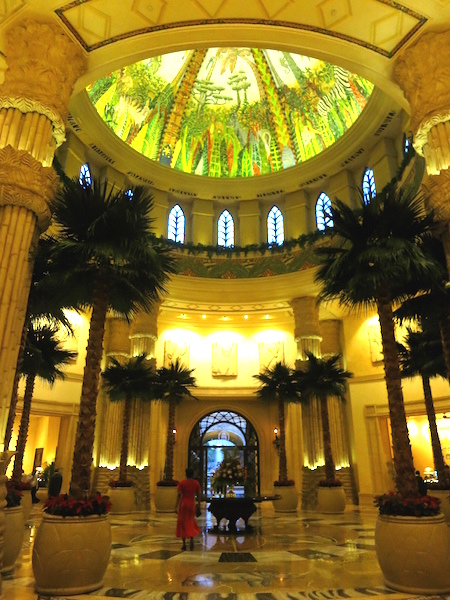 Romance at Sun City Palace lobby with palm trees