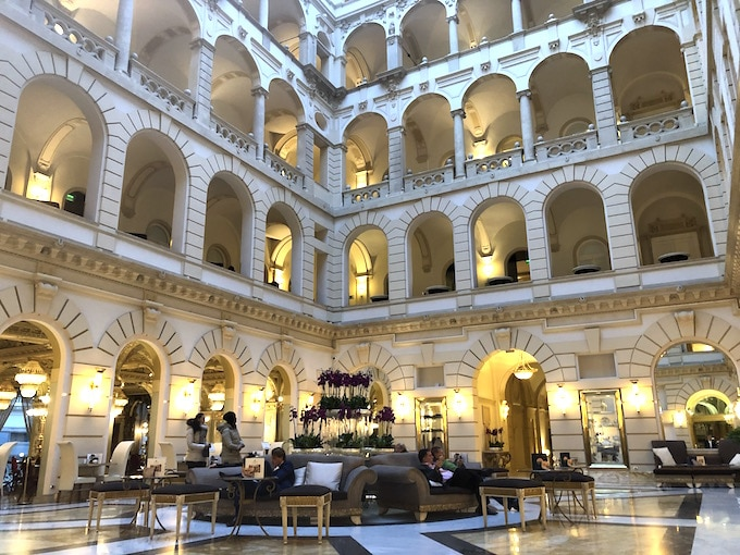 Lobby in the luxury Boscolo Hotel in Budapest