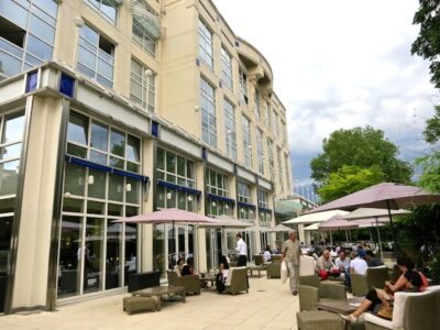 Vichy Hotel Les Celestins patio, easy way to spa in Vichy, France