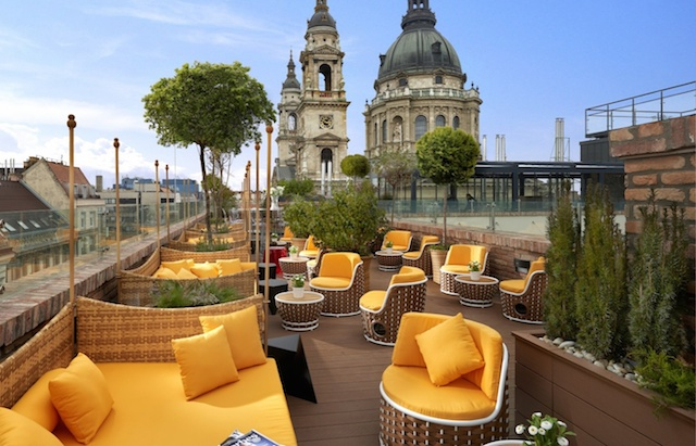 Aria Hotel Budapest rooftop patio