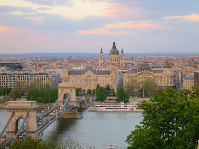 Budapest Danube River scene sunset