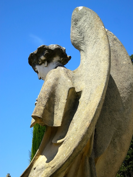Modernist angel in Lloret de Mar Cemetery, Spain