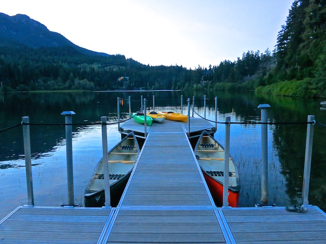 Nita Lake Lodge in Whistler Creekside review, dock in evening
