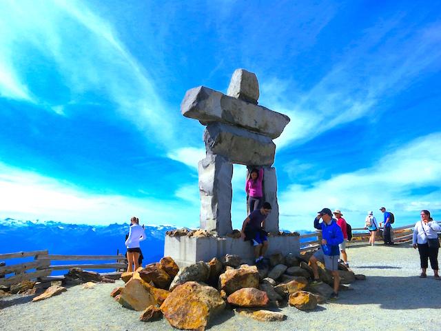 Peak to Peak Whistler experience Inukshuk on Whistler Summit