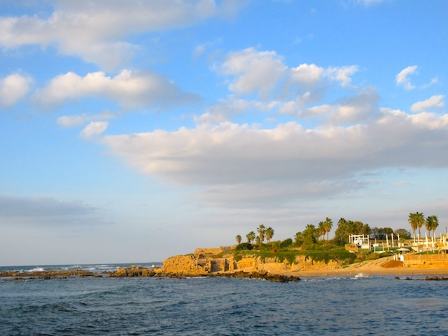 Caesarea in Israel, view from the water