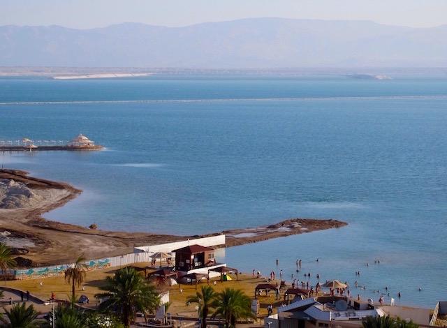Dead Sea floating, Ein Bokek public beach