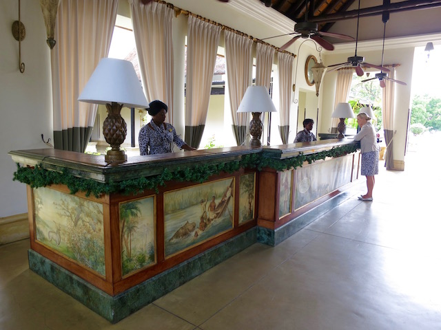 The best hotel in Victoria Falls, reception desk, Royal Livingstone Hotel pictures