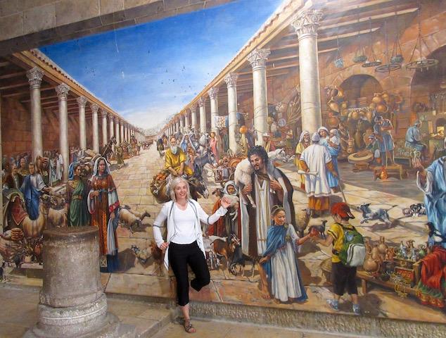 Cardo Jerusalem mural with Wandering Carol