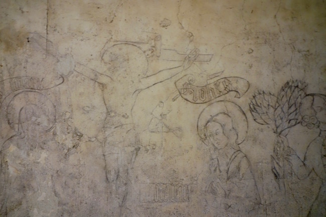 Chillon Castle crucifixion drawing