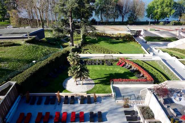Hotel Evian France review, view from Hilton