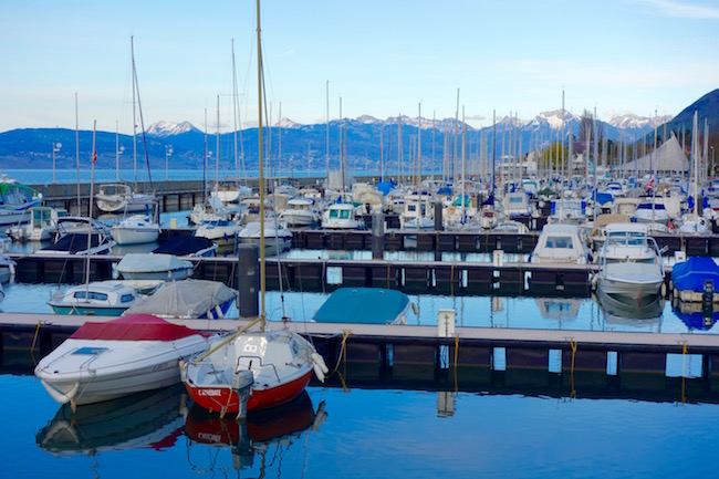 Evian les Bains marina and Lake Geneva with boats