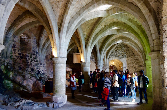 Visiting Chillon Castle dungeon, Montreux, Switzerland