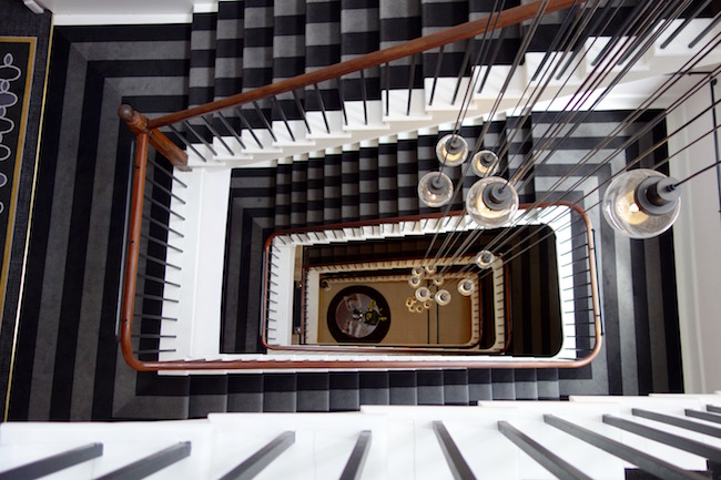 Spas hotels in Bath, staircase at the luxury Gainsborough hotel