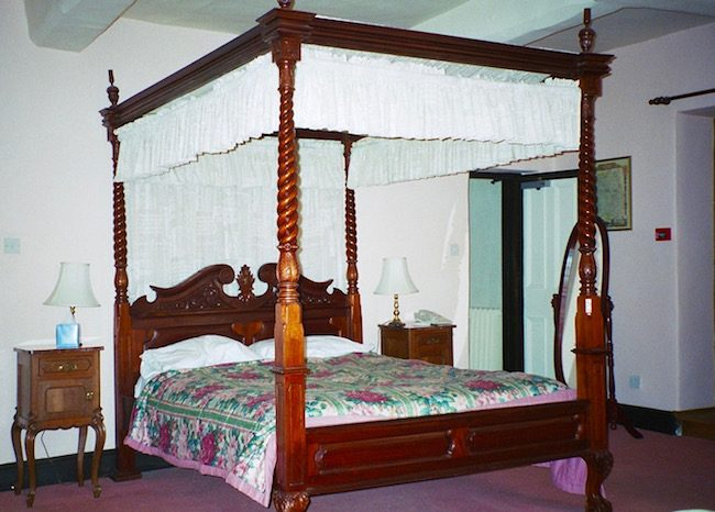 four poster bed in haunted Prince Rupert Hotel Shropshire England