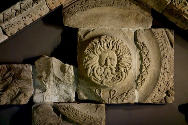 Visiting Roman Baths in Bath, Gorgon Head