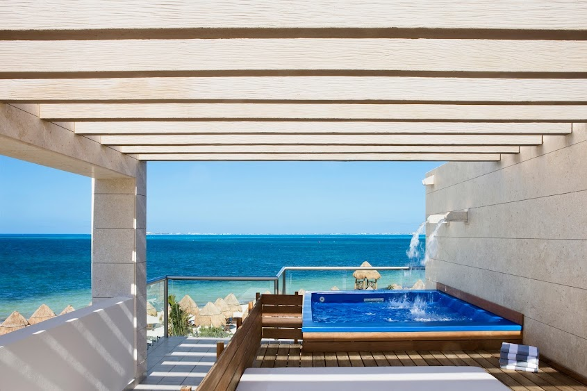 plunge pool overlooking the ocean at beloved playa mujeres, a couples only all inclusive resort mexico